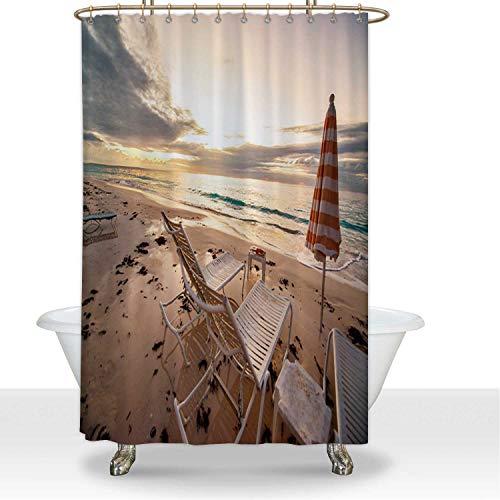 ALUONI Sunrise on Bermuda Beach Durbale Shower Curtain Apartment Essentials,for Hotel,60''W x 72''H