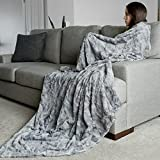 Oversized Softest Warm Elegant Cozy Faux Fur Home Throw Blanket 60' x 80' by Graced Soft Luxuries, Marbled Gray