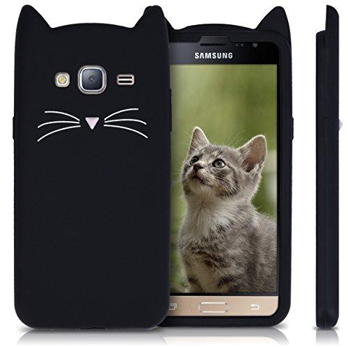 kwmobile Coque Samsung Galaxy J3 (2016) DUOS Chat Noir/Blanc ...