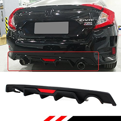 JDM Rear Bumper Dual Exhaust Diffuser With Red LED 3rd Brake Light Compatible with 2016-2018 Honda Civic 4 door Sedan