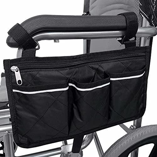 SINBLUE Bolsa para silla de ruedas con reposabrazos negro, bolsa lateral para silla de ruedas eléctrica, bolsa para silla de ruedas Oxford, resistente al agua, pequeña (32,5 x 18 cm)