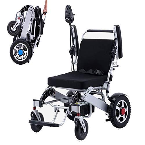 Sedia A Rotelle Elettrica, Sedia da Viaggio Portatile Transit Cuscino Confortevole Batteria A Lunga Durata Facile da Riporre per Anziani Disabili