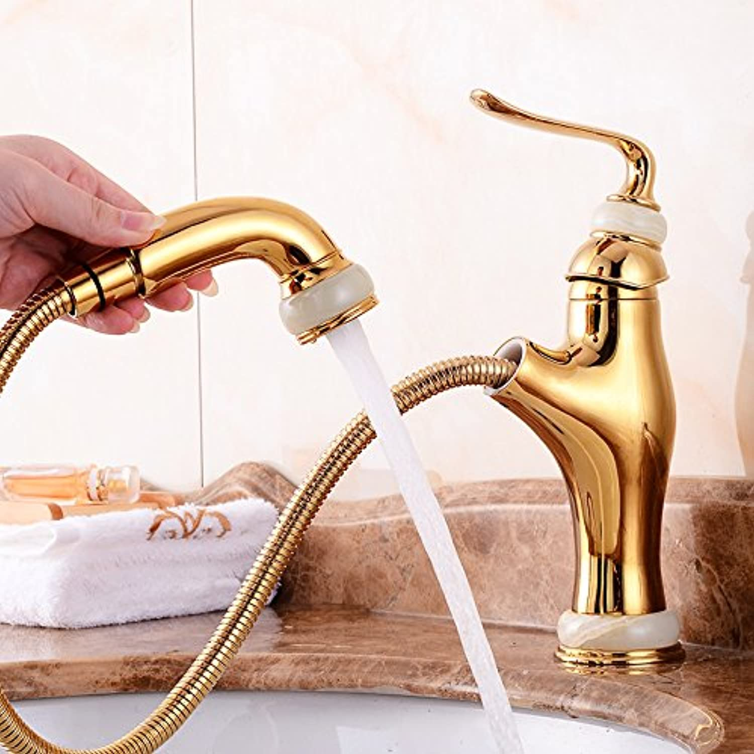 Hlluya Professional Sink Mixer Tap Kitchen Faucet The bathroom sink cold water taps for pull-down faucet full copper