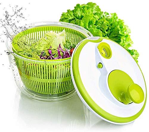 Gemüse- und Salatschleuder mit Ausgießer, BPA-frei, 5 l, großes Fassungsvermögen, Grün und Weiß