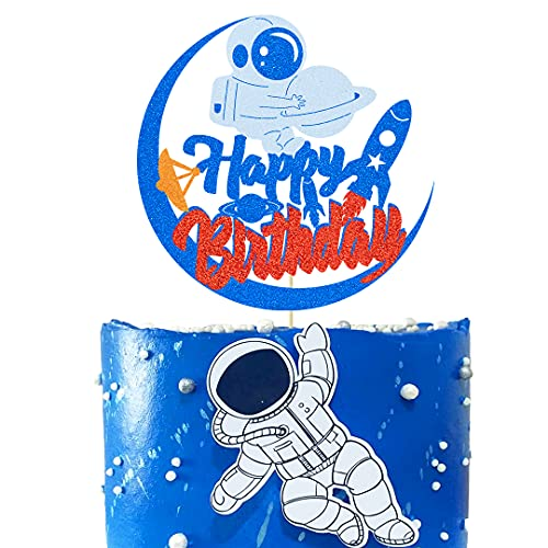 Astronaut Cake Topper Rocket Theme Birthday Decoration Galaxy Space Cake Decoration for Kids Birthday Party Supplies