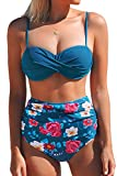 CUPSHE Saphir Blau Floral Bikini, Blau, XS