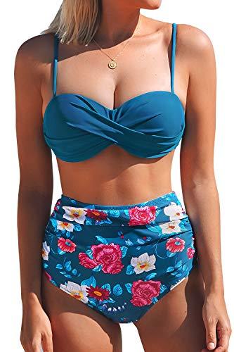 CUPSHE Women's Sapphire Blue Floral High Waisted Back Hook Bikini Small