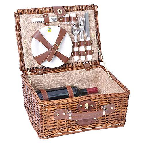 Les Jardins de la Comtesse - Picknickkorb Saint Michel aus honigfarbener Weide - Komplett Für 2 Personen - Keramikteller und Weingläsern/Beige Stoff - 38 x 28 x 18 cm