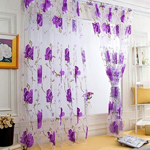 Tule Vitrages Schitterend Bloempatroon Wijnstokken Bladeren Deur Gordijnen Gordijn Paneel Pure Sjaal Hot Sale, Paars, 250cm x 100cm