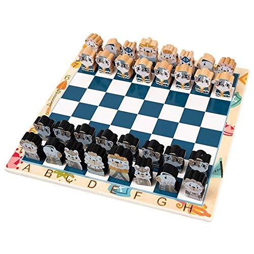 ZQY Schaakset Schaakbord Beginner Kinderen Zwart En Wit Pion Effen Houten Board Double Queen Cartoon Driedimensionaal Spelen