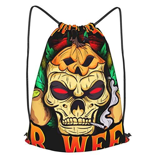 GYYbling Mochilas con cordón Halloween Skull Trick or Tread Weed Smoking Stoner Mochila con cordón, Beam Mouth Mochila de Viaje Escolar Mochila Ligera Bolsos de Hombro para Hombres y Mujeres