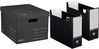 コクヨ 収納ボックス NEOS フタ付き ブラック 3個セット + ファイルボックス NEOS A4 ブラック 2個セット