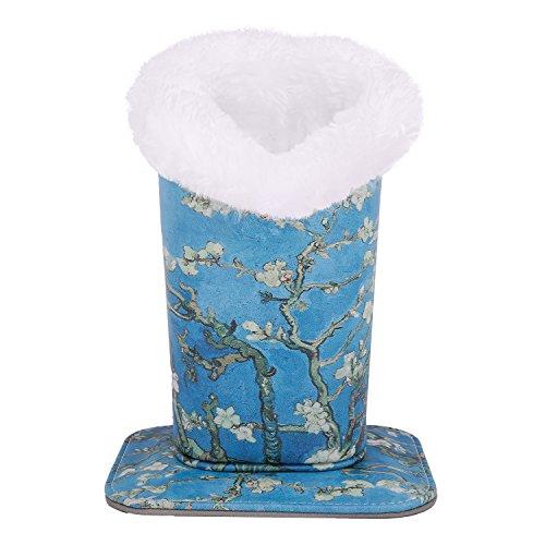 MoKo MoKo Brillenhalter - Sonnenbrillenhalterung Organisierer Schutzhülle Tasche Brillenständer Etui Box Beutel Anti-Kratz moderner Samt Plüsch gefüttert PU Leder, Aprikose Blume