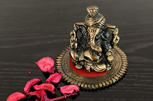 eCraftIndia Pagdi Metal Lord Ganesha on Round Base (10.2 cm x 10.2 cm x 7.6 cm, Brown)