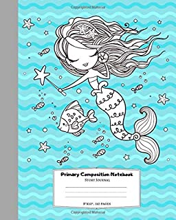 Primary Composition Notebook Story Journal: Mermaid Picture Space and Dashed Midline Handwritting Paper for Kindergarten, School Exercise Book for K-2, 1st & 2nd grades girls 8