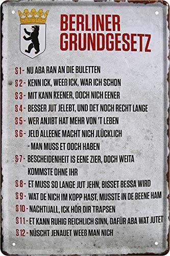 """Cartel de chapa con texto en alemán """"Berlín GrUNDGESETZ"""", decoración Berlínico Berlín, humor, cartel de metal, cartel divertido regalo para cumpleaños o Navidad 20 x 30 cm"""