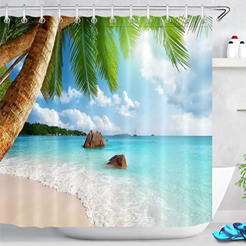 LB Rideaux de Douche Île Tropicale 240x175cm Océan Palmier Plage Rideaux de Bain avec Crochets,Extra Large Imperméable Polyester Anti Moule Salle de Bain Décor