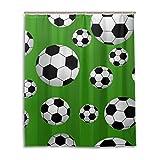 MyDaily Fußball-Duschvorhang, 152,4 x 182,9 cm, schimmelresistent & wasserdicht, Polyester-Dekoration für das Badezimmer