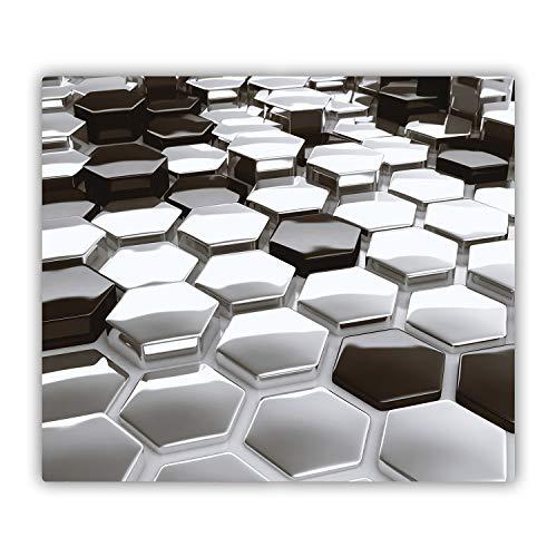 Tulup Glas Herdabdeckplatte Ceranfeldabdeckung Spritzschutz Glasabdeckplatte Kochplattenabdeckung und Schneidebrett - Einteilig - 60x52 cm - Kunst: modern & klassisch - 3D-Abstraktion - Silber