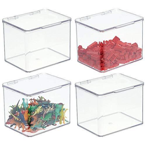 mDesign Organizador de juguetes con tapa – Juguetero apilable de plástico robusto – Caja de almacenaje para guardar juguetes o manualidades en la habitación infantil – Juego de 4 – transparente