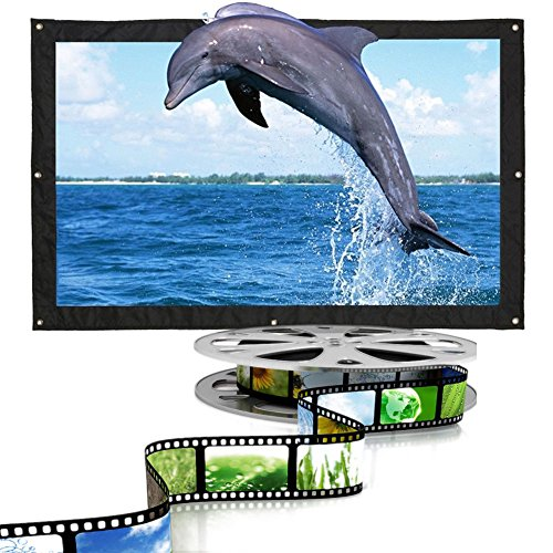 Cewaal Cortina plegable para proyector, 16: 9 150 '' Película para proyección de películas para exteriores en interiores Proyector para cortinas Proyector blanco mate