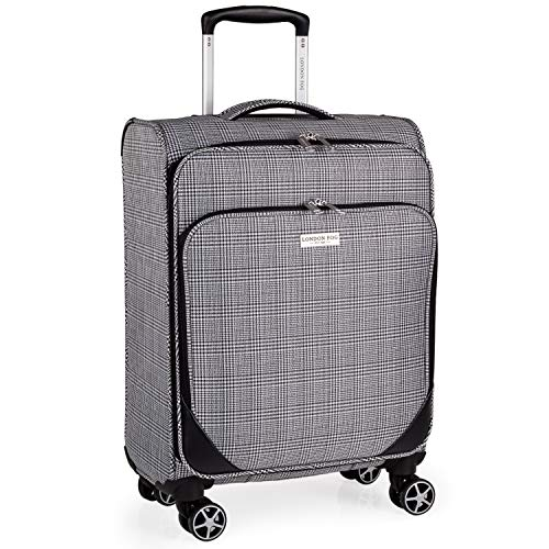 London Fog 23 Inch Suitcase on x4 Spinner Wheels - Soft Shell Luggage with Drag Handle 58x36x22 | Newbury LFL004 (Small)