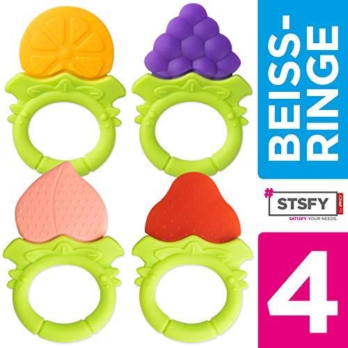 4 Baby Beißringe Freche Früchtchen - Sicher & BPA-frei - aus hygienischem Silikon - Obst Kau-Spielzeug Greifling Beissring Zahnungshilfe Schmerzlinderung Zahnen