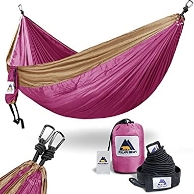USA PolarBear Portable Lightweight Single & Double Camping Hammocks 120  (L) x 80 (W) for Backpacking, Travel, Beach, Hiking, Yard Contain 2 x Straps (120  L) & 2 x Carabiners for Easy Setup Purple
