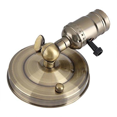 Samfox Vintage Lamp Holder, E27 Retro Aplique con Interruptor para Uso Doméstico Y Decoración 220v(Bronce)