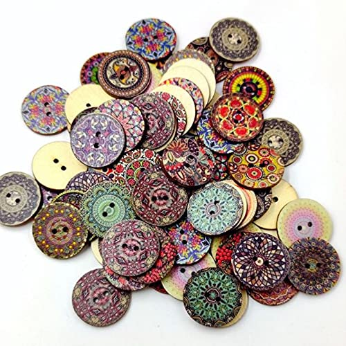 Popular Vintage Wooden Buttons Printing Bohemian Style Decorative Buttons for Crafts Fashion Wooden Scrapbooking Buttons-Bohemian,15mm-100pcs