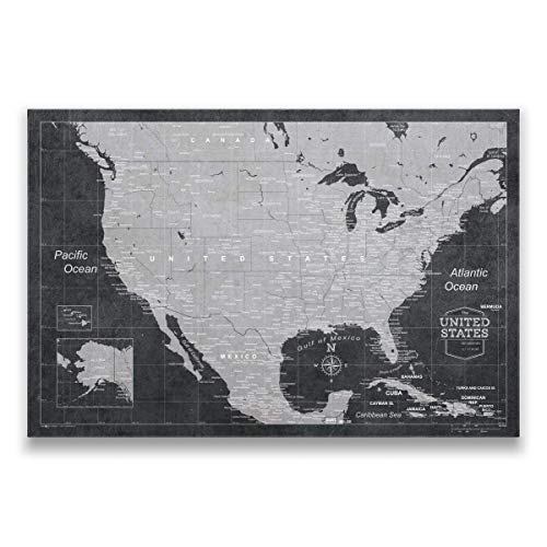 Push Pin USA Map Board - With Push Pins to Mark World Travel - Handmade in Ohio, USA - Design: Modern Slate