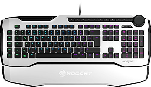 Roccat Horde AIMO Membranical RGB Gaming Tastatur (AIMO LED Beleuchtung, Präzisions-Tastenlayout, Quick-fire Makro-Tasten, konfigurierbares Tuning-Rad, USB), weiß