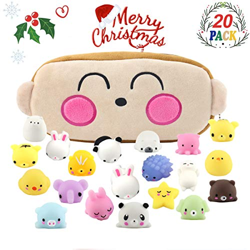 Squishy Toys Kids Party Favors Mochi Squishy Toy Party Favors for Kids 20pcs Mini Kawaii Animals Squishies Stress Relief Toys Squeeze Squishies Birthday Present for Boys & Girls with Carrying Bag
