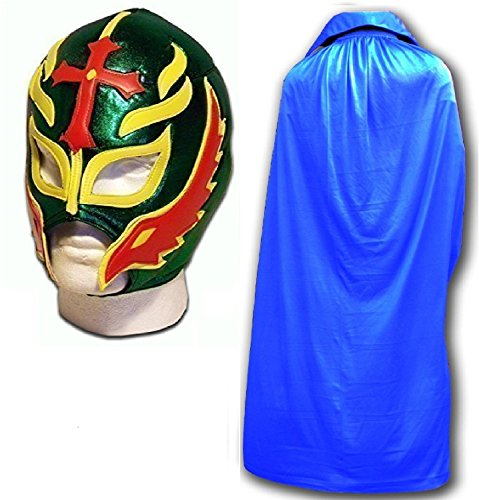 Son of the Devil grün Fancy Kleid Mexikanischen Wrestlers Erwachsene Mexican Wrestling Maske W/Blau Cape