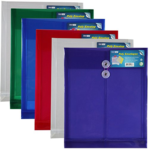Letter Size Poly String Envelope with Expandable Gusset, 6pc Mix Colors Set(1green,1blue,2clear,1purple,1red), Water/Tear Resistant-Translucent