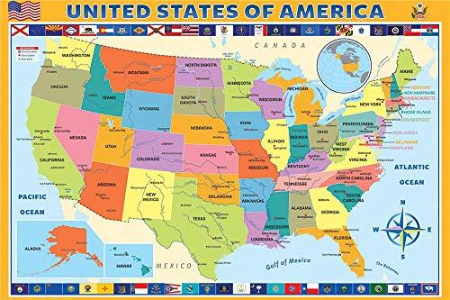 Luck7 Juguetes - Puzzle Madera Puzzles para Adultos - Mapa de Estados Unidos - DIY Juguete Decoración para El Hogar Juego - Regalo -38*52cm-500 Piezas