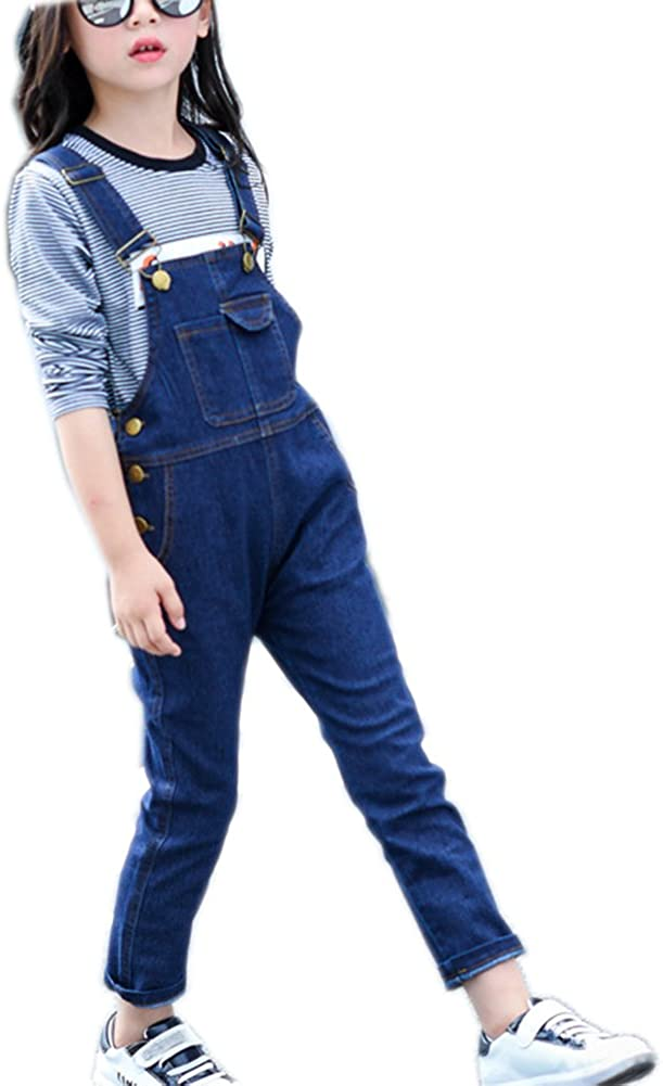 Girls Big Kid Adjustable Strap Suspender Denim Cotton Jeans Long Direct stock discount Excellence