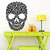 HNXDPViniloAdhesivo depared Azúcar Arte Cráneo Tatuaje Cabeza Cabeza Mural de la pared Decoración para el hogar Patrón floral Creativo Tatuajes de pared Y95 56x76cm