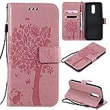 Nancen Compatible with Handyhülle LG K40 / K12 Plus Hülle, Flip-Hülle Handytasche - Standfunktion Brieftasche & Kartenfächern - Baum & Katze - Pink