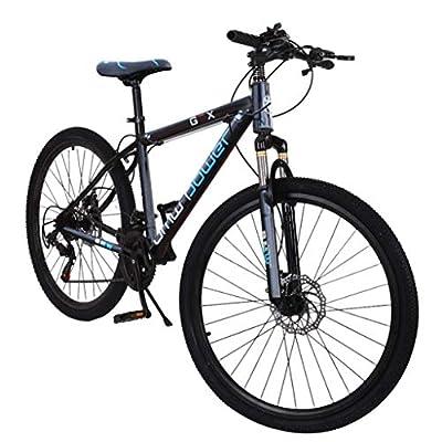 NATIVEUSO Black Junior Aluminum Full Mountain Bike,Stone Mountain 26 Inch 21-Speed ??Bicycle, Mens/Womens Hybrid Road Bike Aluminum Full Suspension Road Bike for Men Women