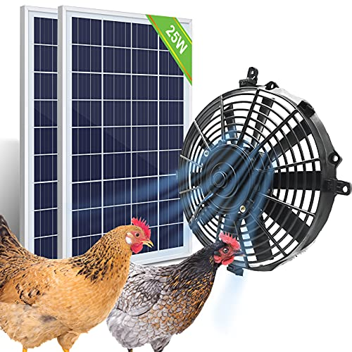 Pumplus Powerful 12in Chicken Coop Cooler Fan, 2pcs 25W Solar Panel & Solar Powered Fan, Ventilates Your House, Shed, Greenhouse, Garage - DELIVERY IN 2 PAECELS