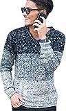 (ビッチ)VICCI メンズ セーター ニット Vネック ケーブル編み 長袖 ストレッチ リブ