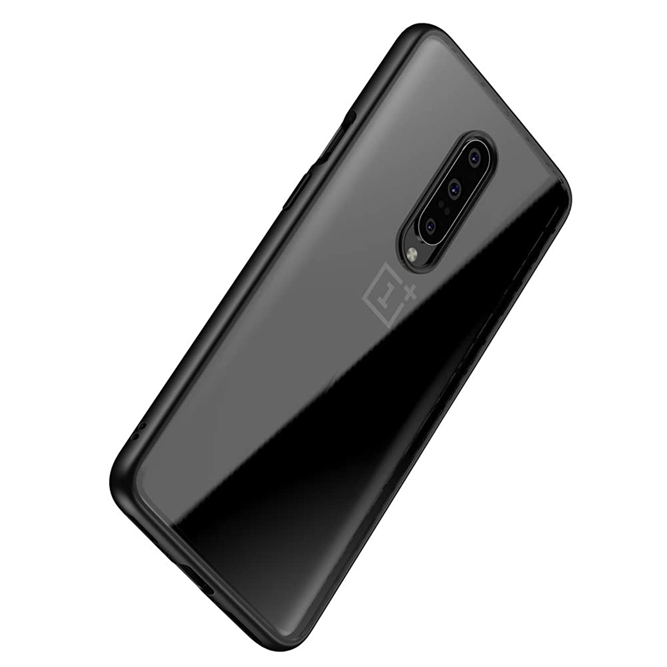 Vinve for Oneplus 7 Pro Case, Slim Clear Anti-Scratch Ultra Hybrid Designed Shockproof Anti-Drop Cover Clear Hard Back Panel + TPU Bumper Protective Case (Black)