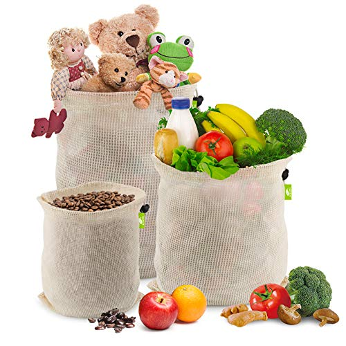 Idefair Bolsas de malla reutilizables,10 unidades de bolsas de almacenamiento de verduras y productos frescos algodón para juguetes, alimentos, compras, almacenamiento