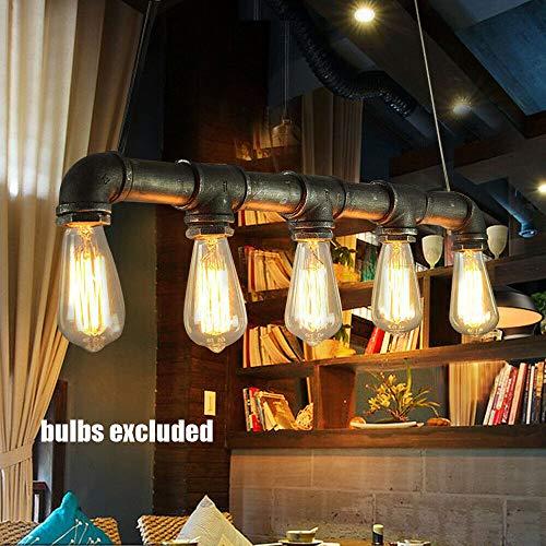 Wasserrohr Lampe Vintage Pendelleuchte Hängelampe Industrial Schwarz E27