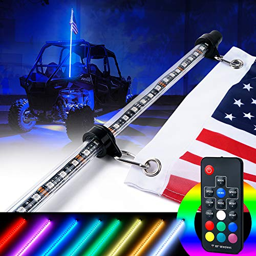 Xprite 6ft (1.8M) LED Whip Lights w/Remote Controlled RGB 21 Static Colors Flag Pole Safety Light for Offroad Sand Dune Buggy UTV ATV Polaris RZR Can-Am Maverick X3 Yamaha 4X4 Trophy Truck