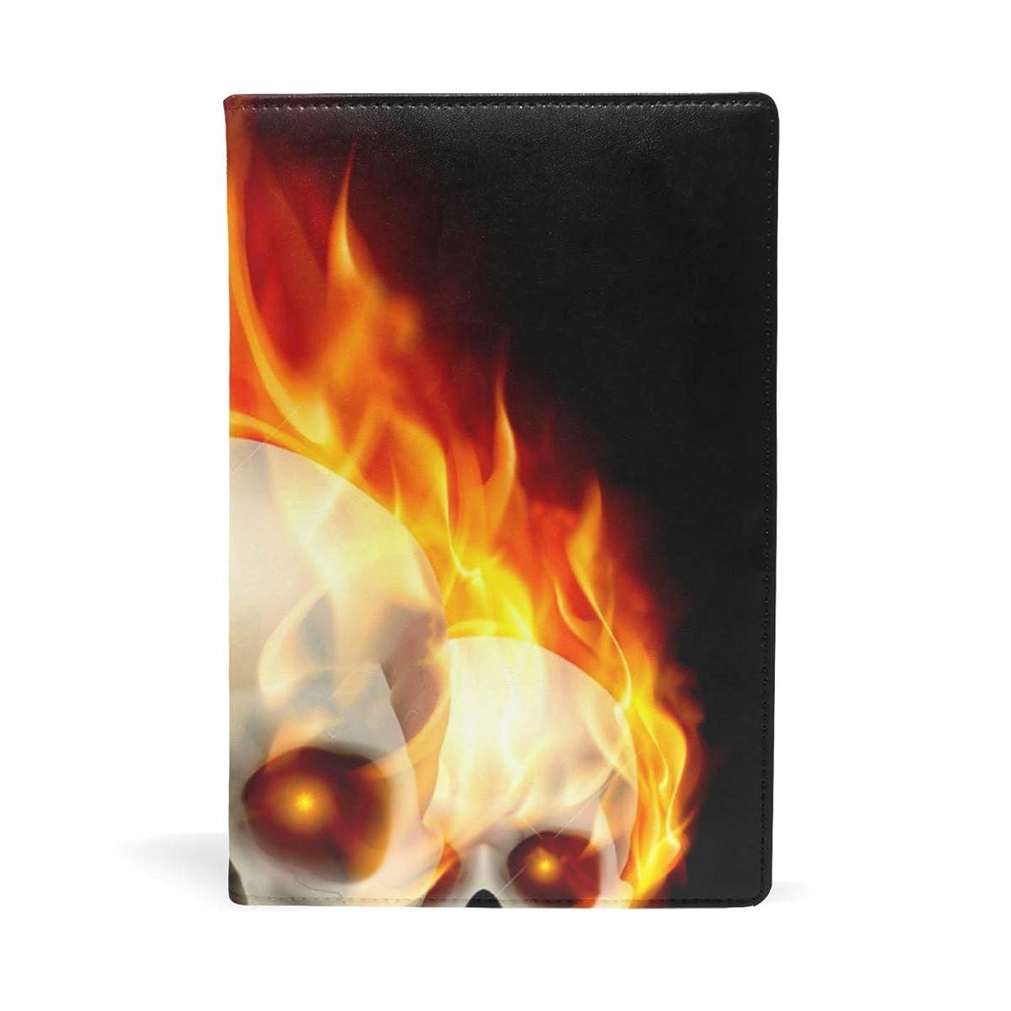 バーマド侵入する美しいブックカバー 文庫 a5 皮革 レザー 火の頭蓋骨 文庫本カバー ファイル 資料 収納入れ オフィス用品 読書 雑貨 プレゼント