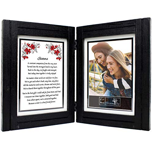 Sisters Gifts from Sister - 5x7 Picture Frame and 'Sisters' Poem - Birthday, Valentines Day, Wedding, Christmas, Long Distance, Mothers Day, Maid of Honor, Best Friend - Big / Little / Middle / Twin / Adults