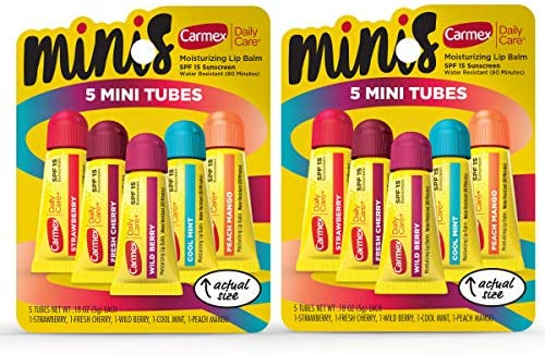 Carmex Daily Care Minis Lip Balm Pack, Lip Balm with Sunscreen in Fresh Cherry, Strawberry, Cool Mint, Wild Berry and Peach Mango - 0.18 OZ Each, 5 Count