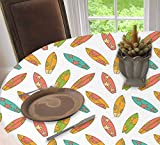 Surfboard Elastic Edged Table Cover Oval Tables Tablecloth, Fun Colorful Surfing Boards Water Sports Summer Tropical Beach Activity Hawaii,Fits Oblong/Oval Tables up to 48' W x 68' L